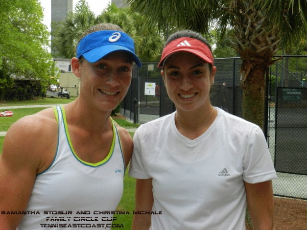 Stosur after practice with Christina McHale @FCC 12