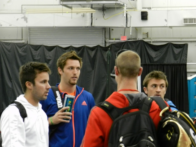 Williams and Smyczek caucusing before their matches today