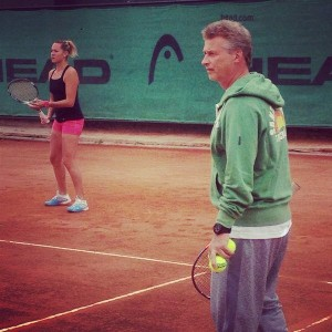 Conny in training with Joachim