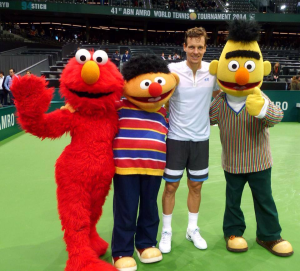 Tomas Berdych with Elmo Bert and Ernie