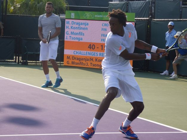 Monfils and Tsonga were looking to knock off rust (photo credit Esam Taha)