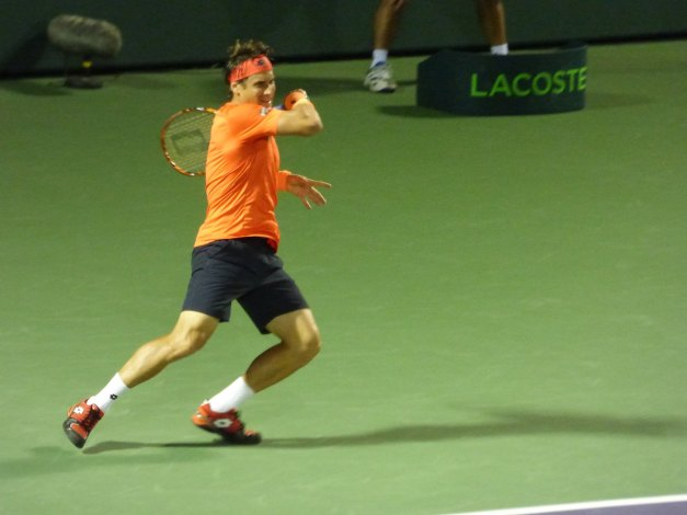 Ferrer started well (photo credit: Esam Taha)