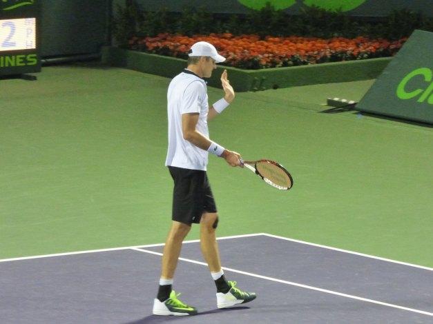 Isner played well until the first set tiebreak (photo credit: Esam Taha)