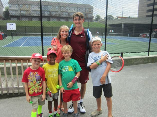 Donaldson with BB&T Atlanta Open Superfans (note the head and sweatbands from JD)