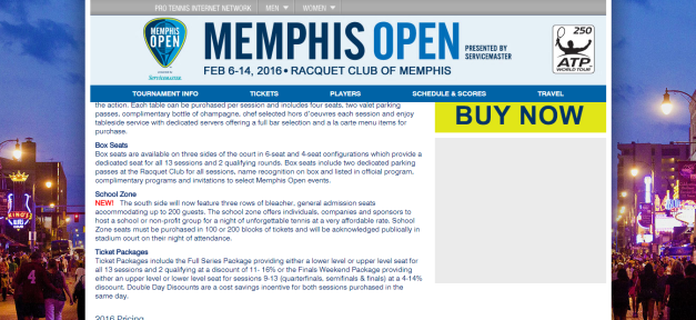 Tickets Memphis Tennis Tournament