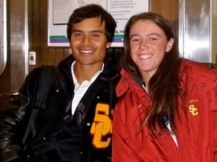 West Nott with former USC Trojan Kaitlyn Christian