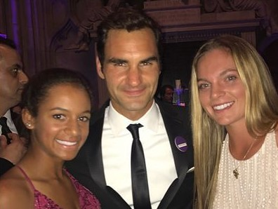 Caty McNally, right, with Roger Federer at Wimbledon Ball