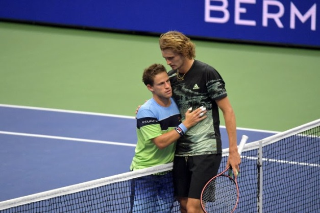 Diego Schwartzman (L) defeated Alexander Zverev (R) in the fourth round (Peter Staples/USTA).